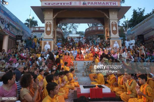 Aarti a spiritual ceremony given by Pujya Swami Chidanand Saraswatiji the guru of Parmarth Niketan the largest ashram in the city on march 292017 in...