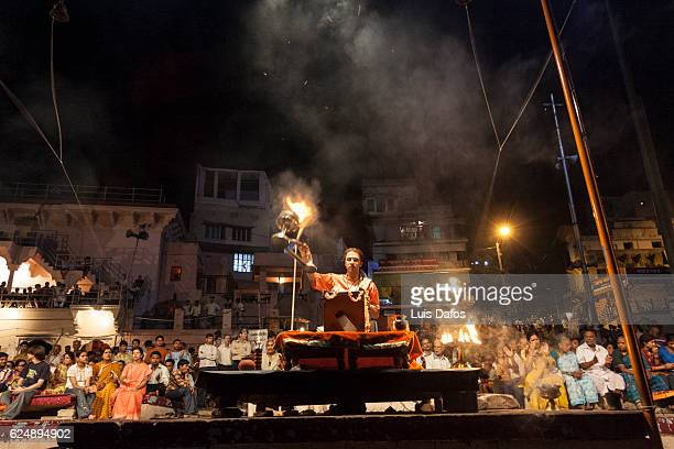 aarti ceremony - dafos stock photos and pictures