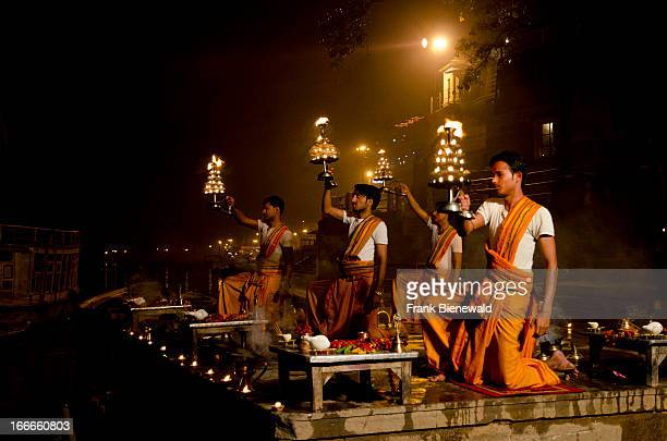 Aartii the evening ceremony is performed at many places all along the holy river Ganges here at the main ghat of Varanasi