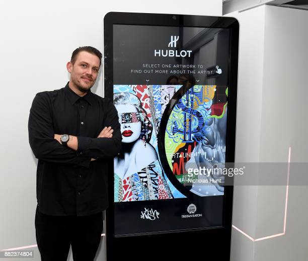 Aartist Tristan Eaton attends as Hublot launches Fame v Fortune Timepieces with Street Artists Tristan Eaton and Hush at Lightbox Studios on November...