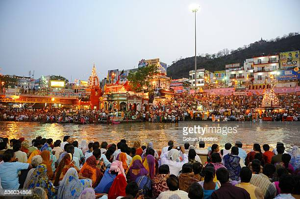 aarty ceremony near ganges river - haridwar stock pictures, royalty-free photos & images