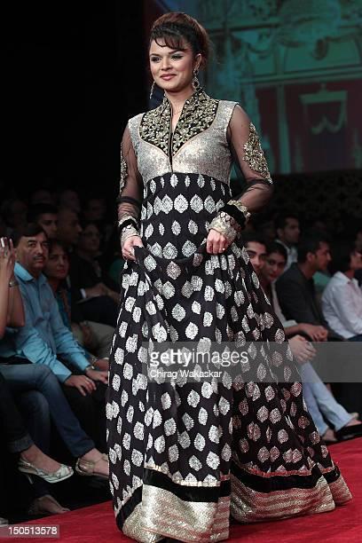 Aashka Goradia walks the runway in a XXX design at the India International Jewellery Week 2012 Day 1 at the Grand Hyatt on August 19 2012 in Mumbai...