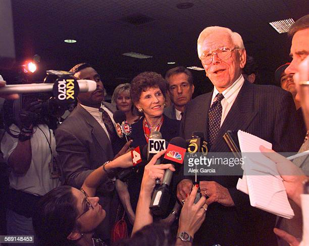 Shuller.Airport.0813.AAG––Reverend Robert Schuller of the Crystal Cathedral in Garden Grove arrives at Los Angeles International Airport to respond...