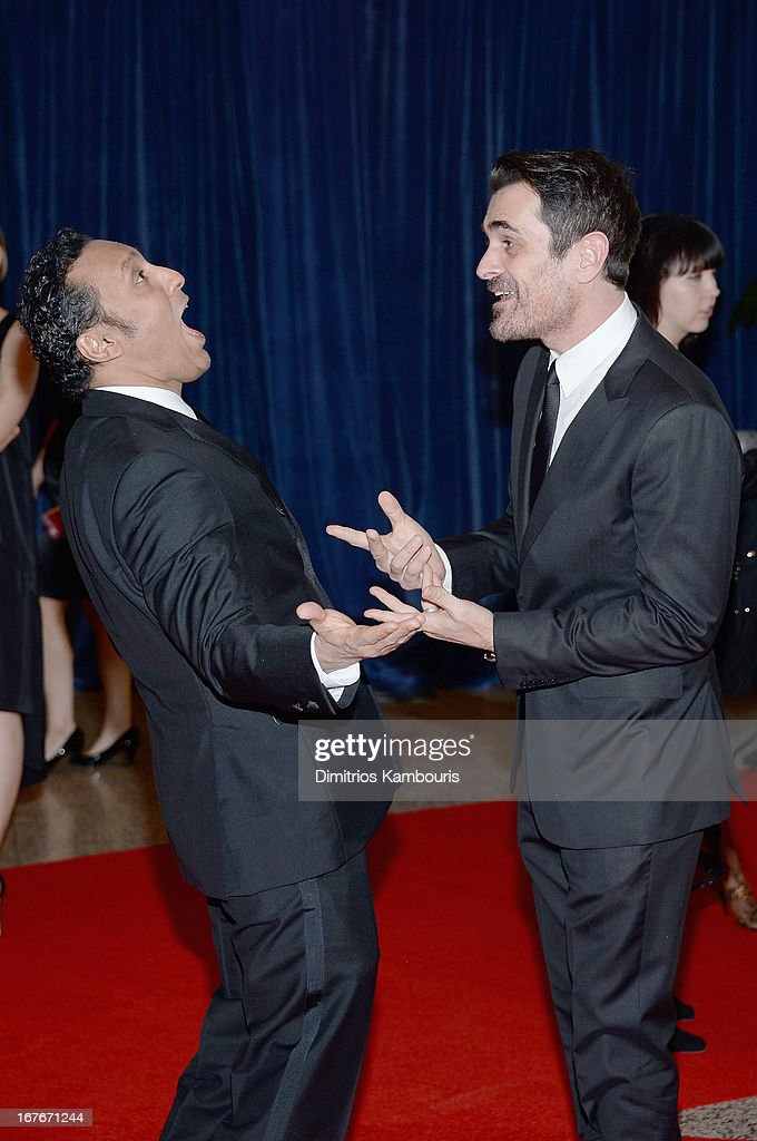 Aasif Mandvi and Ty Burrel attend the White House Correspondents' Association Dinner at the Washington Hilton on April 27, 2013 in Washington, DC.