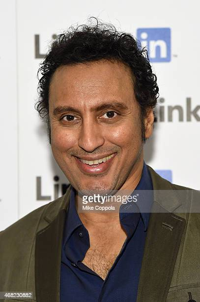 Aasif Mandvi attends LinkedIn Discussion Series Executive Editor Dan Roth Interviews The Daily Show's Aasif Mandvi at LinkedIn NY at LinkedIn Studios...