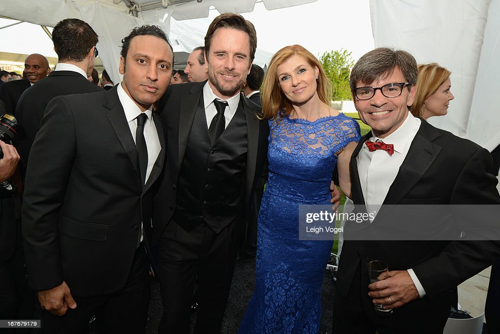 Aasif Mandvi, Charles Esten, Connie Britton and George Stephanopoulos attend ABC News, Yahoo! News, Univision Pre-White House Correspondents Dinner cocktail reception at Washington Hilton on April 27, 2013 in Washington, DC.