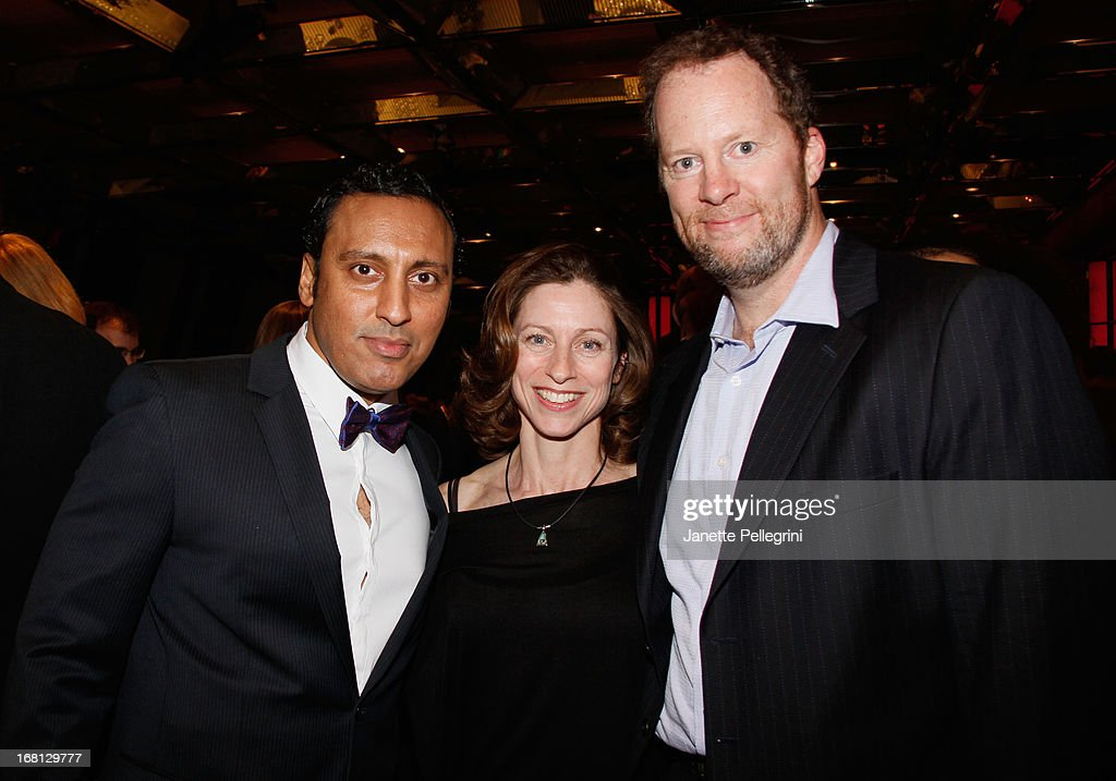 Aasif Mandvi, Paula DeRosa and Shuler Hensley attend the 28th Annual Lucille Lortel Awards After Party on May 5, 2013 in New York City.