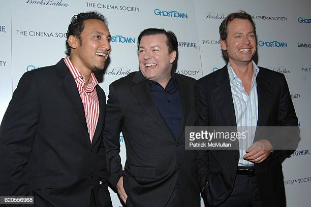 Aasif Mandvi Ricky Gervais and Greg Kinnear attend THE CINEMA SOCIETY with BROOKS BROTHERS BOMBAY SAPPHIRE host a screening of GHOST TOWN at IFC...