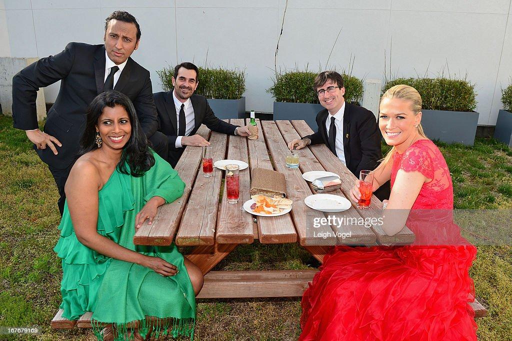 Aasif Mandvi, Sujata Thomas, Ty Burrell, John Oliver and Kate Norley attend ABC News, Yahoo! News, Univision Pre-White House Correspondents Dinner cocktail reception at Washington Hilton on April 27, 2013 in Washington, DC.