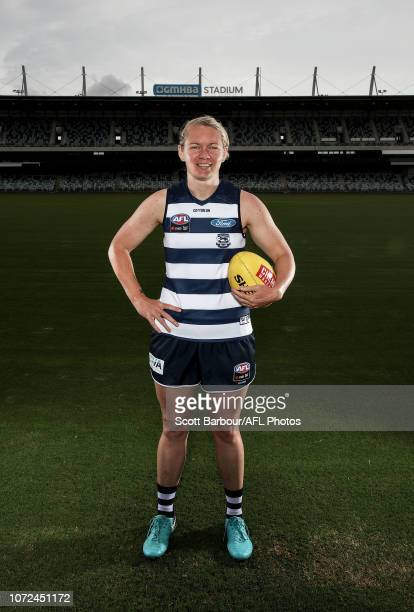 Aasta O'Connor poses during the Geelong Cats AFLW Leadership Announcement at GMHBA Stadium on December 13 2018 in Geelong Australia
