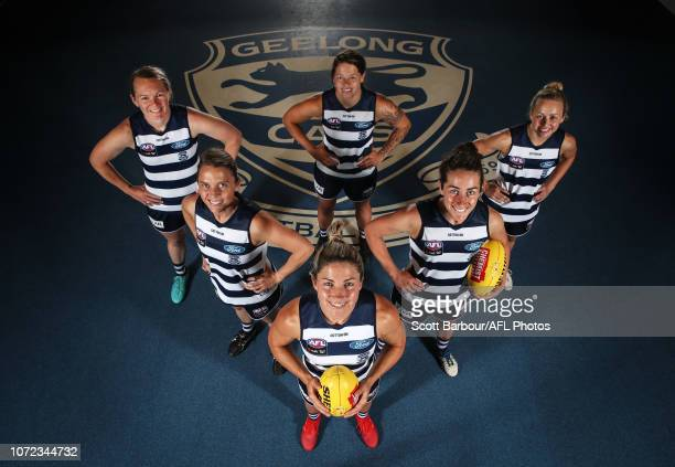 Aasta O'Connor Richelle Rocky Cranston Melissa Hickey Bec Goring Renee Garing and Anna Teague pose during the Geelong Cats AFLW Leadership...
