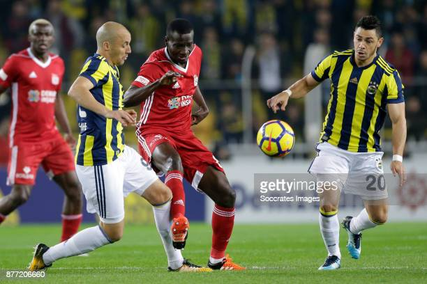 Aatif Chahechouhe of Fenerbahce Delvin Ndinga of Sivasspor Guiliano Victor De Paulo of Fenerbahce during the Turkish Super lig match between...