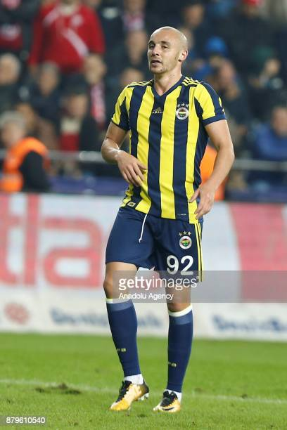 Aatif Chahechouhe of Fenerbahce gestures during the Turkish Super Lig match between Antalyaspor and Fenerbahce at Antalya Stadium in Antalya Turkey...