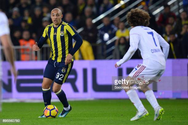 Aatif Chahechouhe of Fenerbahce Osman Celik of Karabukspor during the Turkish Super lig match between Fenerbahce v Karabukspor at the Sukru...