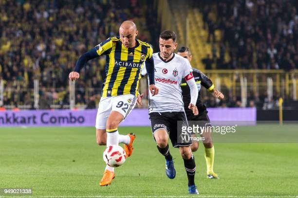Aatif Chahechouhe of Fenerbahce SK Oguzhan Ozyakup of Besiktas JK during the Ziraat Turkish Cup match Fenerbahce AS and Besiktas AS at the Sukru...