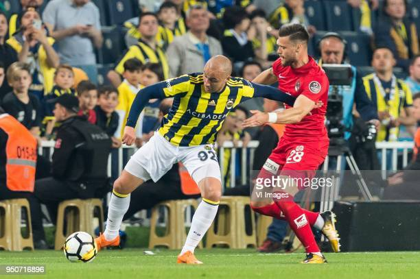 Aatif Chahechouhe of Fenerbahce SK Ondrej Celustka of Antalyaspor AS during the Turkish Spor Toto Super Lig match Fenerbahce AS and Antalyaspor AS at...