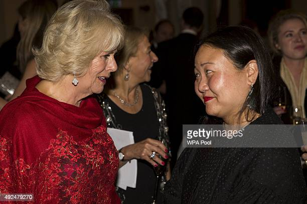 Aauthor Hanya Yanagihara and Camilla Duchess of Cornwall attend the 2015 Man Booker Prize winners reception at The Guildhall on October 13 2015 in...