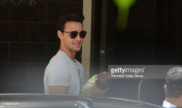 Aayush Sharma at Galaxy Apartment in Mumbai