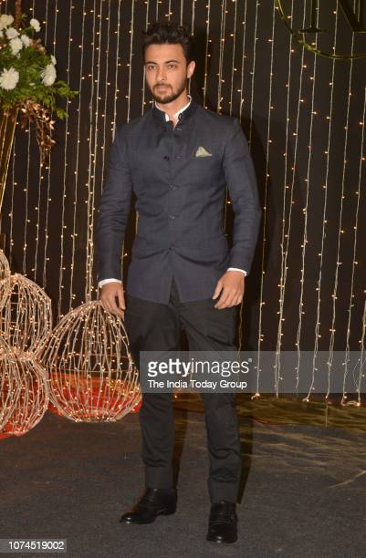 Aayush Sharma posing for cameras at Priyanka Chopra and Nick Jonass reception in Mumbai