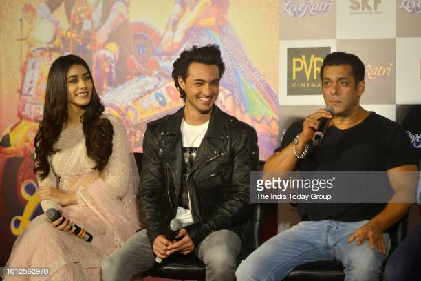 Aayush Sharma Warina Hussain and Salman Khan at the trailer launch of their movie Loveratri in Mumbai