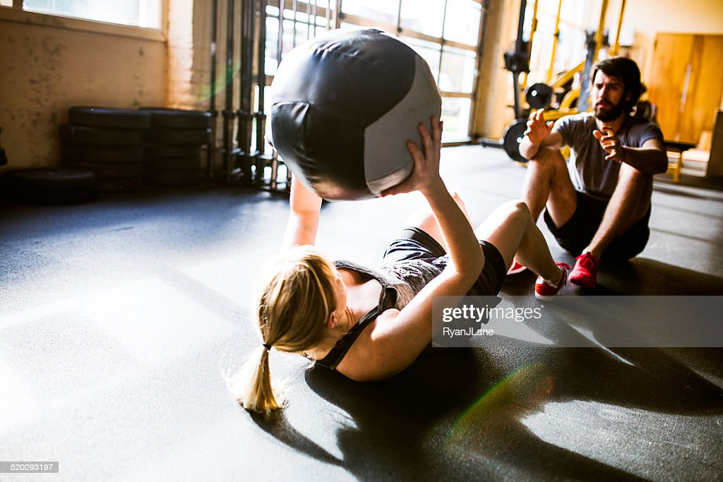 Ab Crunches with Medicine Ball : Stock Photo