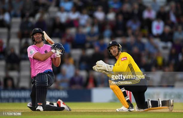 Ab de Villiers of Middlesex bats watched on by Lewis McManus of Hampshire during the Vitality Blast match between Hampshire and Middlesex at Ageas...