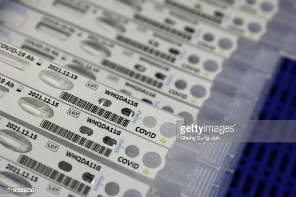 Ab testing kits AFIAS Covid19 used in diagnosing the coronavirus sit at the Boditech Med Inc headquarters on April 17 2020 in Chuncheon South Korea...
