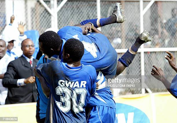 Enyimba celebrates their winning goal against Ghanaian Hearts of Oak at the Aba Township Stadium Sunday 10 September 2006 Nigeria's Enyimba defeated...