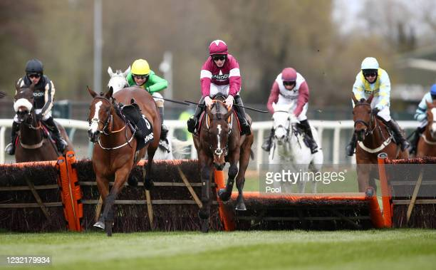 Abacadabras ridden by Jack Kennedy jumps the last on the way to winning the Betway Aintree Hurdle during the Liverpool NHS Day of the 2021 Randox...