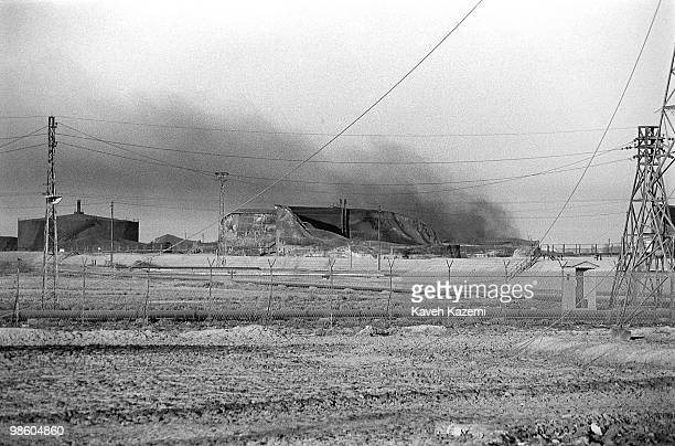 A view of burning oil refinery destroyed by Iraqi bombings during IranIraq war in Abadan south Iran