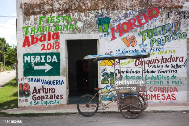 abalá, yucatan, mexico: pedicab with ice cream cones - latin america stock pictures, royalty-free photos & images