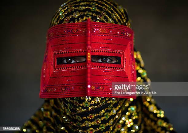 Abandari woman wearing a traditional mask called the burqa hormozgan minab Iran on December 31 2015 in Minab Iran