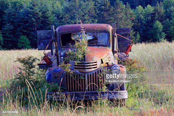 Abandoned 1940's/1950's era Chevrolet rack truck in farm field Lopez Island San Juan Islands Washington State USA Pacific Coast