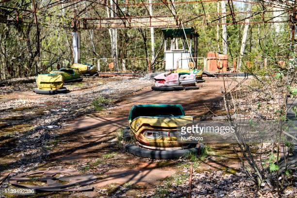 Abandoned amusement park in the city center of Prypiat in Chornobyl exclusion zone Radioactive zone in Pripyat city abandoned ghost town Chernobyl...