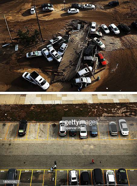 Abandoned and flooded cars are sit after Hurricane Sandy on November 2 2012 in the Rockaway neighborhood of the Queens borugh of New York City NEW...