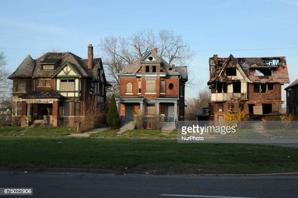 Abandoned apartment building in Detroit Michigan USA on April 13 2017