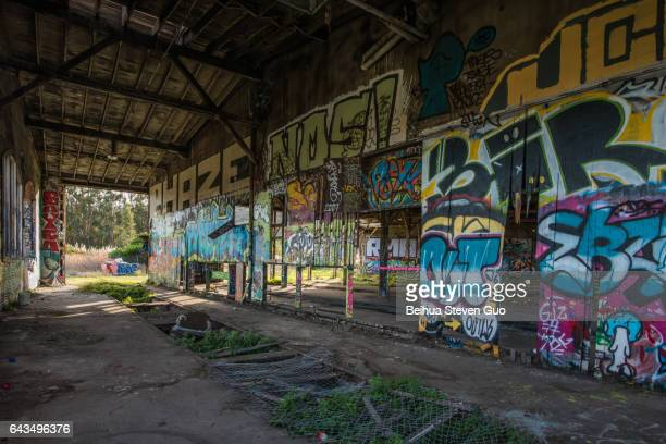 Abandoned Bayshore Roundhouse with Graffiti Art in San Francisco, California