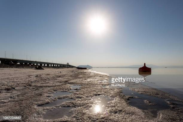 Abandoned beach by Urmia Lake in NorthWest region of Iran on September 26 2018 Urmia lake former tourist attraction and one of Earths wanders has...