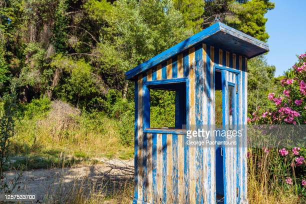 abandoned blue and white guard post - george wood stock pictures, royalty-free photos & images