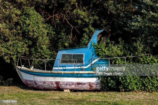 Abandoned Boat Against Trees
