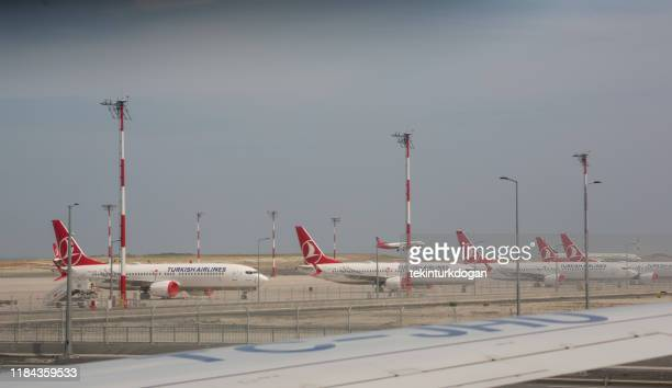 abandoned boeing 737 max planes at new airport istanbul turkey - boeing stock pictures, royalty-free photos & images