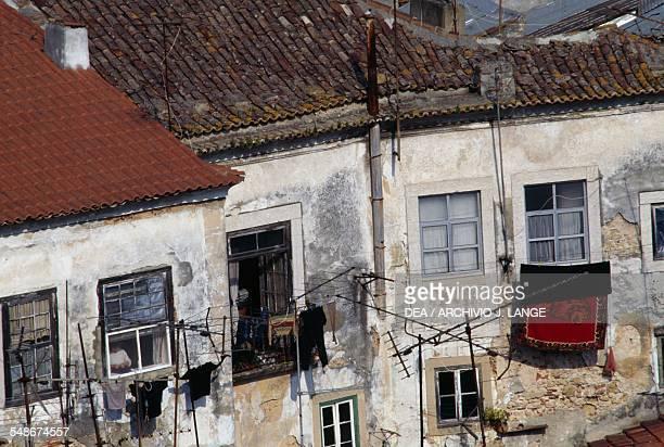 Abandoned brick houses Alfama district Lisbon Historical Province of Extremadura Lisbon Portugal