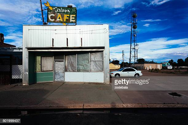 abandoned cafe on route 66, usa - business closing stock photos and pictures