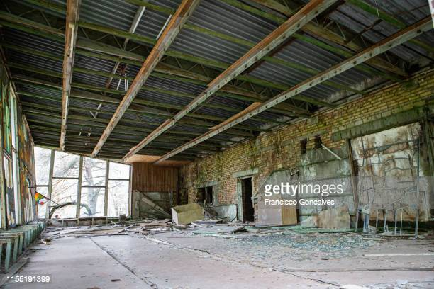 abandoned cafeteria in pripyat ghost town, chernobyl exclusion zone - ukraine stock pictures, royalty-free photos & images