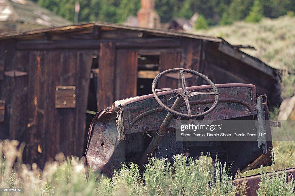 Abandoned car in Montana : Stock Photo