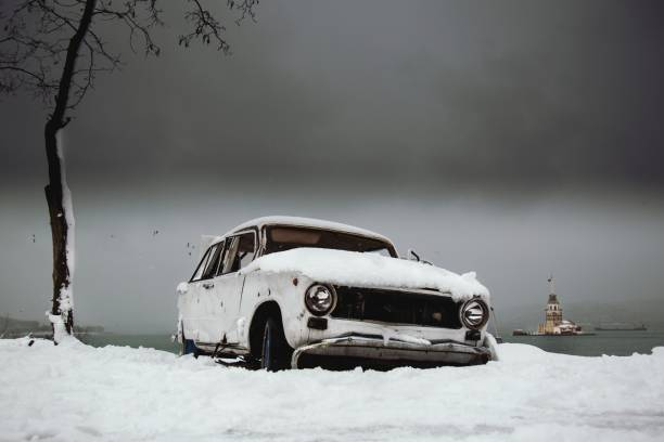 Abandoned Car On Snow Covered Land Against Sky