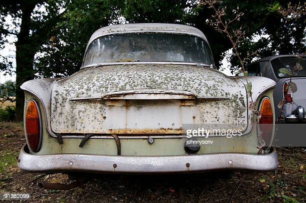 abandoned car... - rusty old car stock pictures, royalty-free photos & images