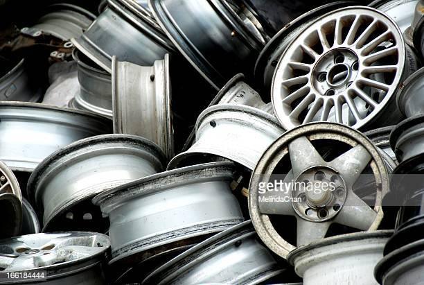 Abandoned car wheel rims