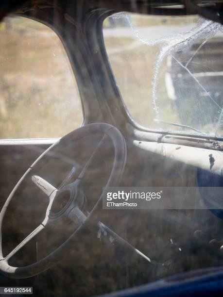 look through dusty side window into
