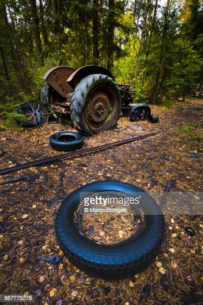 Abandoned cars. Kyrko Mosse junkyard, Sweden.